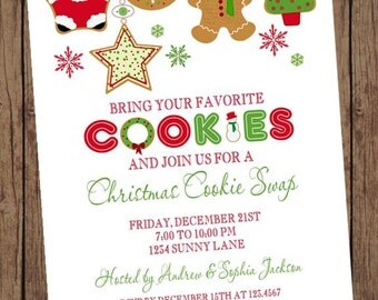 Christmas Cookie Exchange Swap Holiday Invitation - 1.00 each with envelope