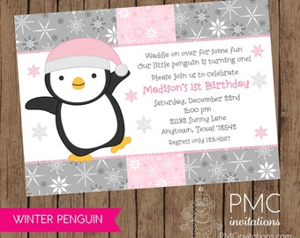 Winter Penguin Birthday Invitation - .1.00 each with envelope