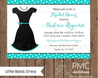 Custom Printed Little Black Dress Bridal Shower Invitations - 1.00 each with envelope