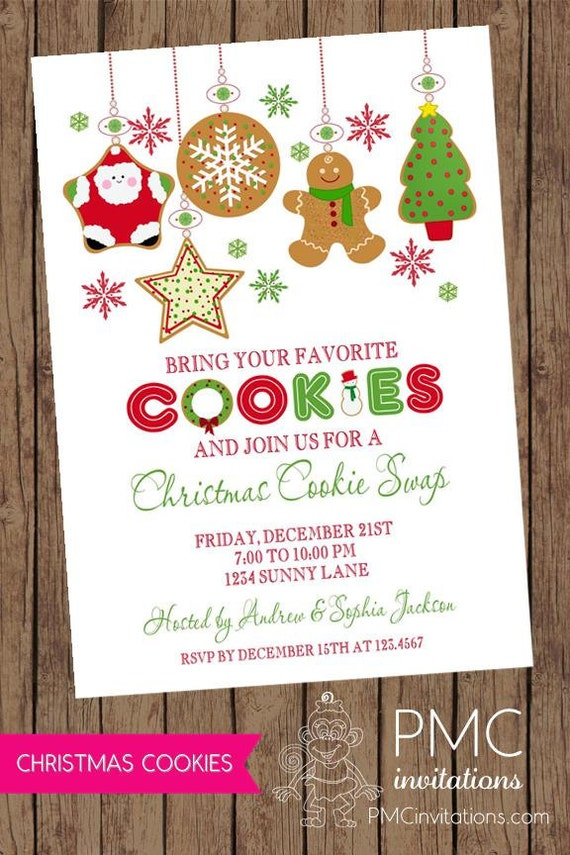 Christmas Cookie Exchange Swap Holiday Invitation - 1.00 each with ...