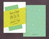 Retro Abstract Pattern Save the Date, Match your Colors!
