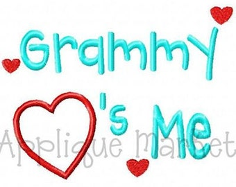 Machine Embroidery Design Applique Grammy Hearts Me INSTANT DOWNLOAD