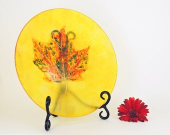 Hand painted glass plate - Autumn Leaves collection