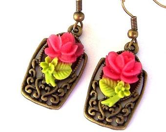 Pink floral bronze earrings, pink flower earrings, vintage style, antiqued bronze