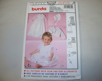 New Burda Baby Clothes and Christening Gown Pattern, 9804   (Free US Shipping)