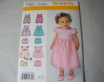 New Simplicity Baby Girl Clothes Pattern, 1701  (Free US Shipping)