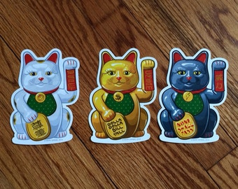 Good Fortune Cat stickers - Money Power Respect