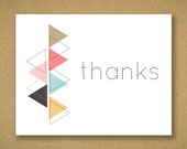 10 Recycled Modern Geometric Thank You Cards and Kraft Envelopes - Lindsey