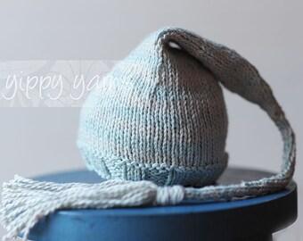 Newborn Knit Hat Elf Nightcap Baby with Tassel Pale Blue Powder Gray Grey Stripes Cotton Wool