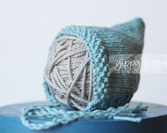 Newborn Knit Hat Baby Pixie Bonnet Robin's Egg Blue Cotton Wool