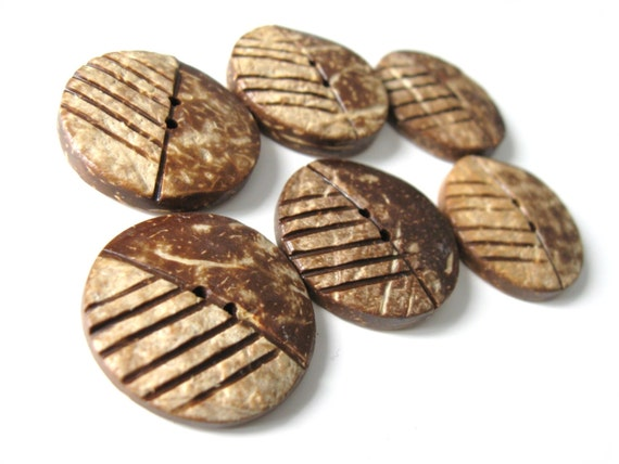 Large coconut buttons set of 2 chocolate brown eco friendly buttons  (BC601)
