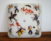 Rare Vintage Cowboy Ceiling Light Cover with Western Theme