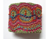 Hand Embroidered Multi-Colored Organic Shapes Cuff
