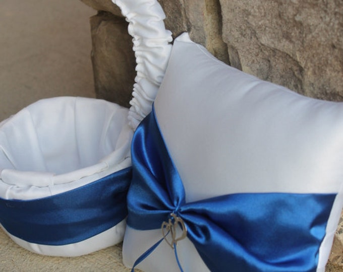 Two Hearts Become One Wedding Ring Bearer Pillow and Flower Girl Basket - White and Royal Blue Horizon Shown Other Colors Available