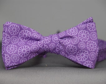 Purple on Purple Daisy Love  Bow Tie