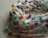 Handmade Crochet & Bead Trim Embellishment, , White with Sea Mix Glass Beads,  Crafting, Sewing, Quilting, Jewelry Making