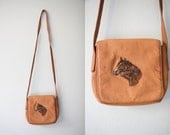 Vintage Brown Leather Cross Body Purse with Embroidered Horses