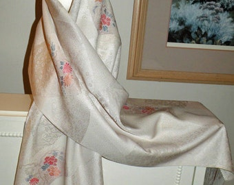 Wrap/Shawl/Scarf/Shrug..Bridal Wedding Gift..Off White Silk Kimono Fabric..Cherry Blossom..Chrysanthemum..Clutch to match