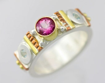 Totem Solitaire Ring 14K, Lrg. (Pink Topaz, Sky Blue Topaz) Made to Order