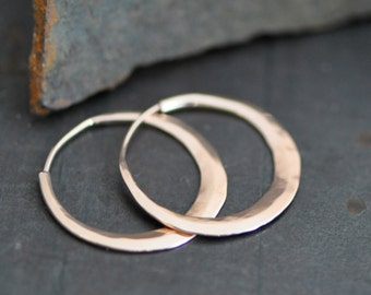 classic hand wrought 14k rose gold hoop earrings, petite 1 inch ish hoop