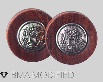 """1 & 1/8"""" (29mm) Antique Silver Eagle Cabochon in Chechen Wood Plugs #3737"""