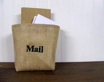 ON VACATIONembroidered basket - mail - custom - burlap basket - customized - organization - natural - storage basket - fabric organizer - p