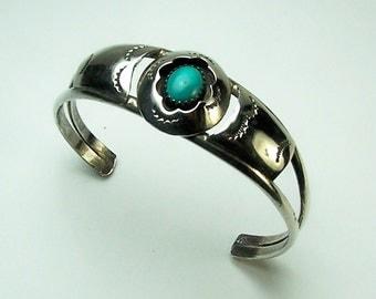 Vintage Navajo Handmade Sterling Silver and Turquoise Ladies Shadow Box Design Ladies Cuff Bracelet