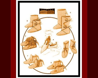 HISTORICAL FOOTWEAR COLLECTION-Costume Sewing Pattern- Fringed Moccasins- Ankle Length & Full Boots- Pointy Shoes- Uncut- Unisex-All Sizes