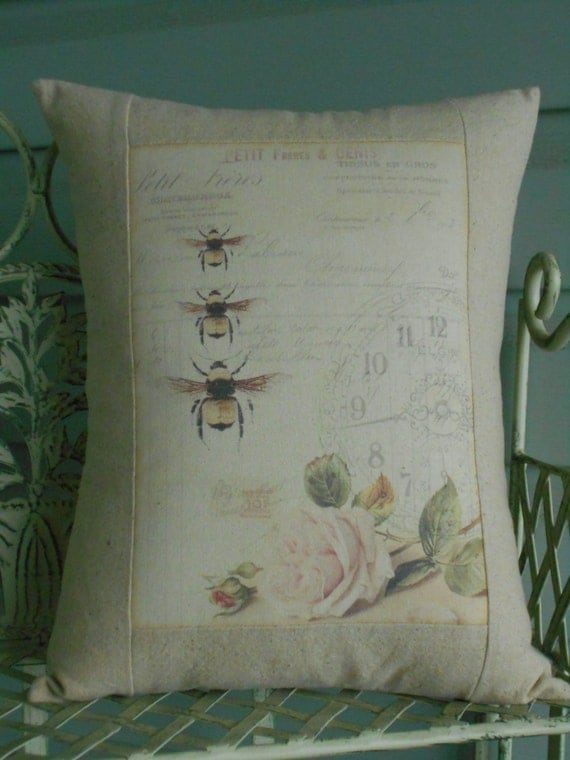 French Shabby Chic Pillows : French Bee Shabby Chic Pillow Cover with Pillow Form French