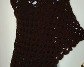 Crochet Triangle Shawl Triple Cluster Stitch/Women's Wrap/Women's Shawl/Fashion Accessories/Handmade/Stole/Cowl/Women's Accessories/Brown
