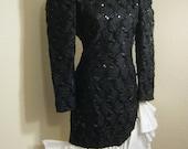 Vintage 80s black sequin white ruffled cocktail dress, poufed satin asymmetric hemline cocktail dress, body shaping black white dress, sz 8