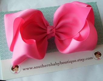 hot pink hair bow etsy