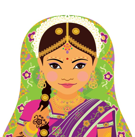 South Indian Doll Art Print with traditional dress, matryoshka