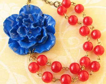 Flower Necklace Statement Necklace Navy Blue Jewelry Red Necklace Bridesmaid Jewelry Bib Necklace Beaded