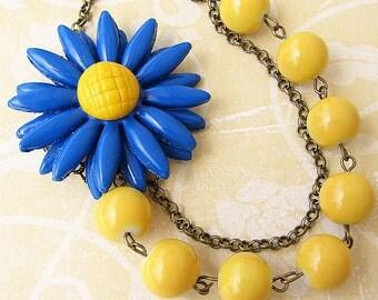 Bib Necklace Statement Necklace Yellow Jewelry Flower Necklace Blue Jewelry Bridesmaid Necklace Beaded