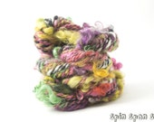 Not Shy, HandSpun Alpaca, Mohair and Wensleydale Yarn, 23 yards, 2 ply, art yarn