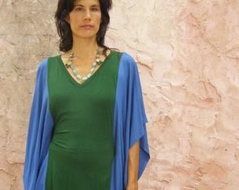 women's blouse in 2 colors-oversized  tunic galabia Kurta- mini dress galabeya-green and greyish blue