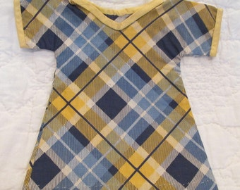 Antique Doll Dress Cotton Plaid Fabric Hand Made SALE