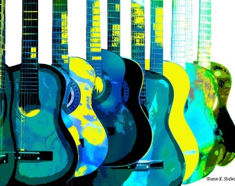 Blue n Yellow Guitars, POP Art, Giclee Print, Turquoise Green Yellow, Wall Hanging, Music Instrument, Abstract Realism, Home Decor, 8 x 10
