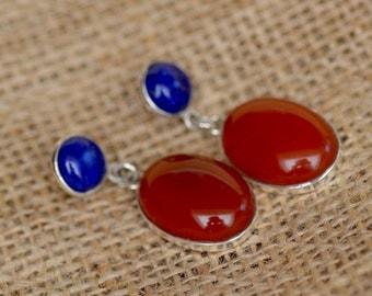 SALE. Carnelian and Lapis Lazuli Silver Earrings. SCARLET SUNSET Sterling Silver Posts. Orange and Deep Blue Gemstone Studs. Fine Jewelry.