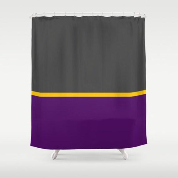 Items Similar To Minimalist Shower Curtain Gray Purple Yellow On Etsy