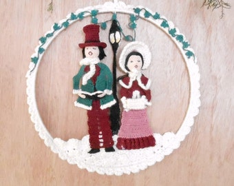 victorian carolers crochet wall hanging, crochet wall art with rose quartz outfit,