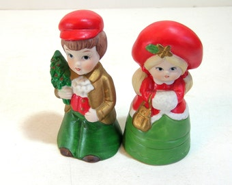Vintage Ceramic Christmas Bells Boy And Girl Figurines