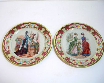 Vintage Tin Plates Daher Decorated Ware Victorian Ladies