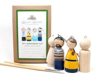 DIY Wooden Ornament Peg Doll Kit // Kids Complete Christmas Art Craft Kit // Kids Gift - Fair Trade  handmade craft kit