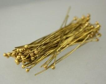 100 pcs RAW Brass Ball headpins Bronze - 2 inch (50mm), 24 Gauge 24G 1.8mm Ball - from California USA