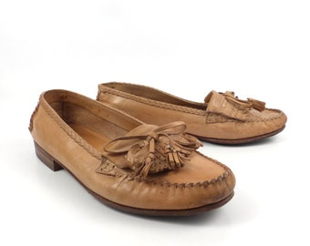 Cole Haan Loafers Tan Natural Brown Vintage 1990s Leather Shoes men's size 7