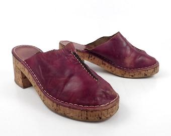 Leather Cork Clogs Vintage 1970s Impo Platform Burgundy Brown Women's size 7