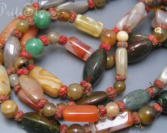 Vintage Antique  Necklace  Oriental Ethnic Polished  Agate Chalcedony Carnelian Bead Jewelry