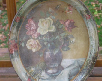 antique Victorian lithograph Rose floral bouquet Vase large metal Tray